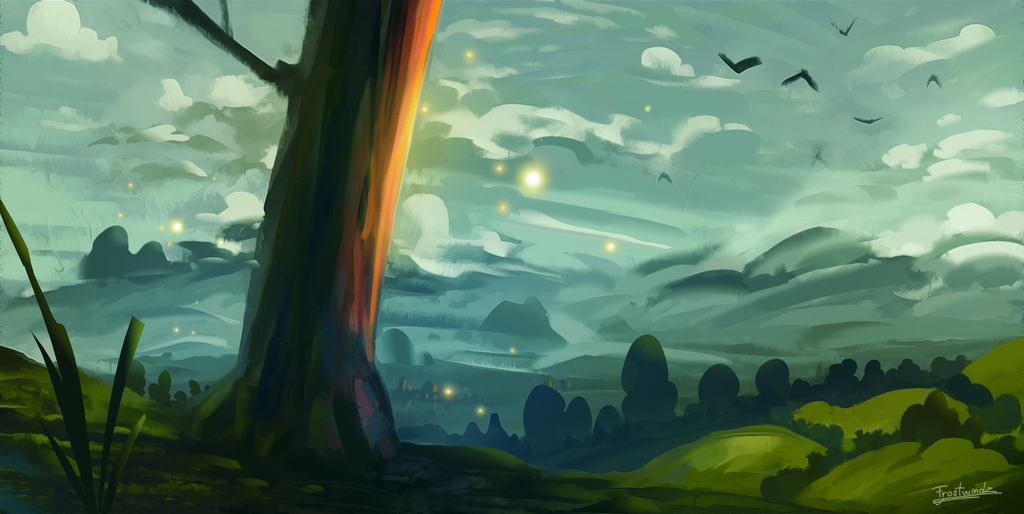 tree_on_a_hill_speedpaint_by_frostwindz-d9zlbcx